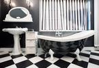 Czarno-biała łazienka. Styl retro we wnętrzach