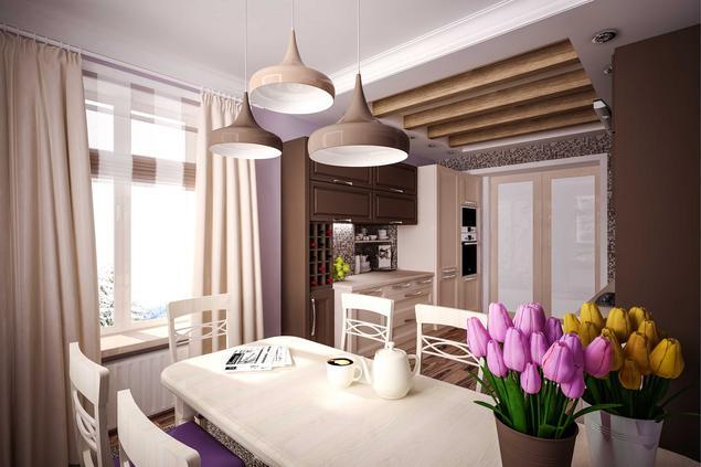 Zobacz galerię zdjęć Nowoczesna kuchnia  białe meble kuchenne i fioletowe śc