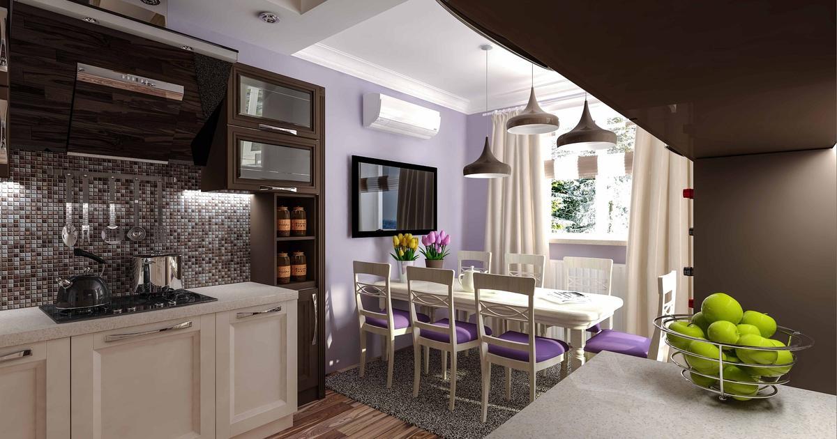 Nowoczesna kuchnia  białe meble kuchenne i fioletowe ściany -> Kuchnia Meble Biale