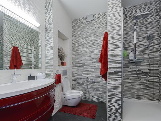 Pomysł Na Szaro Czerwoną łazienkę Szare Płytki łazienkowe